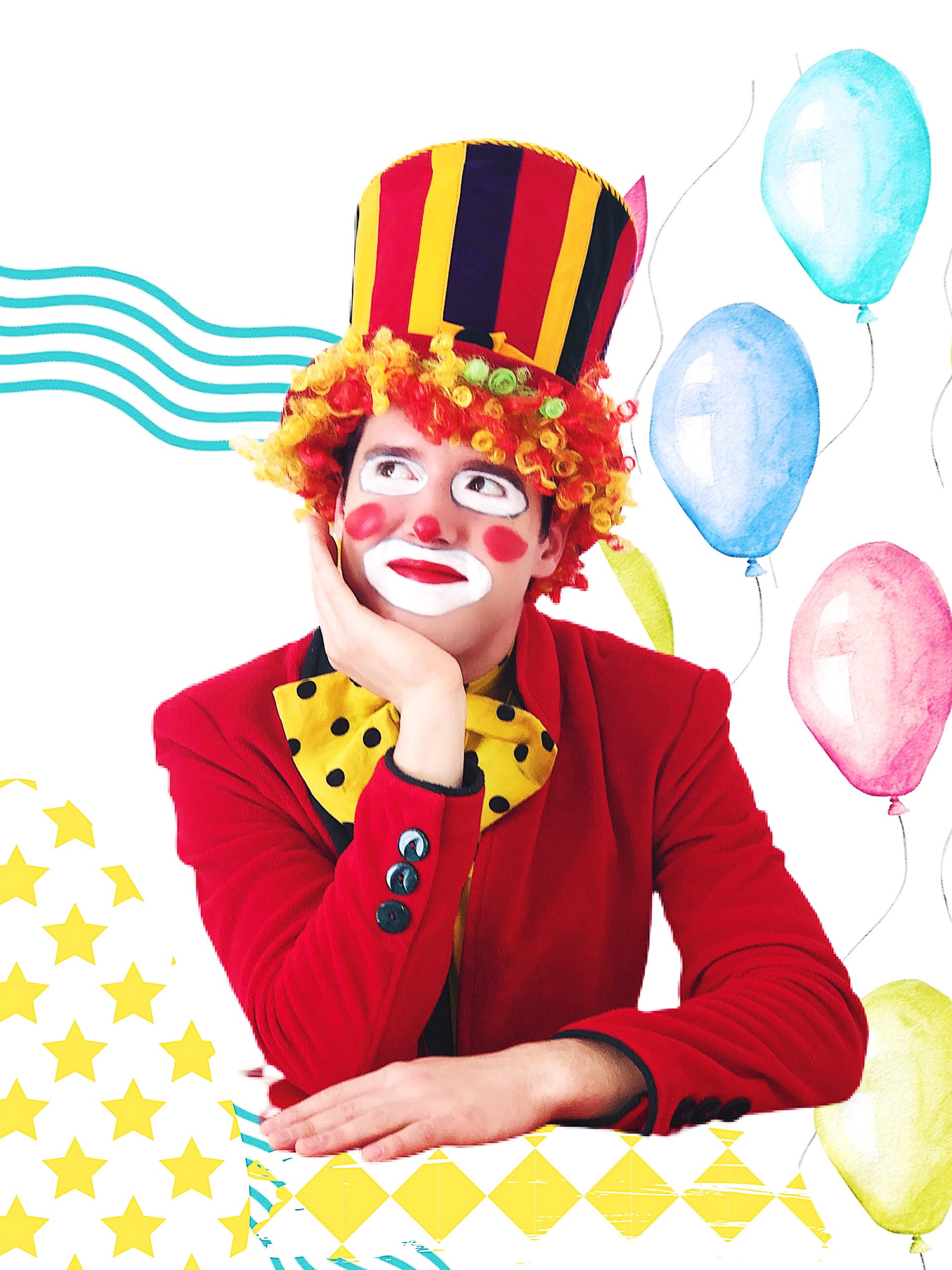 Rico the clown, smiling, and thinking about something