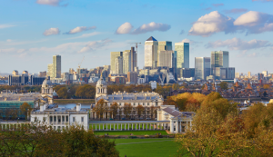 View from Greenwich Park to Canary Wharf and the river Thames in London