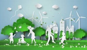 A landscape with wind turbines and people playing with a ball